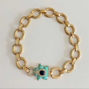 J. Crew Turquoise Enamel Frog Statement Necklace